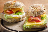 Closeup of sandwiches made of fresh vegetables — Stock Photo