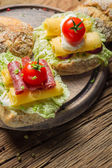 Tasty sandwiches made from fresh ingredients — Stock Photo