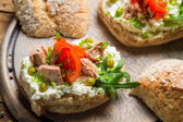 Sandwich made of cottage cheese, tuna and tomato — Zdjęcie stockowe