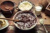 Ingredients for homemade chocolate with nuts — Stock Photo