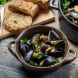 Royalty-Free Stock Photo: Closeup of ingredients to prepare mussels with garlic