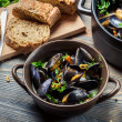 Closeup of ingredients to prepare mussels with garlic — Stock Photo
