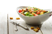 Fresh salad with chicken on white background — Foto de Stock