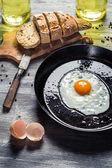 Fesh egg for breakfast in the countryside — Stock Photo