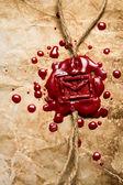 крупным планом символ конверта отпечатаны красным сургучом — Стоковое фото