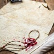 Ancient scrolls and old envelope with blue inkwell - ストック写真