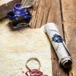 Ancient scrolls and old envelope with blue inkwell - Lizenzfreies Foto