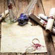 Ancient scrolls and old envelope with blue inkwell - Stock fotografie