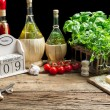 Prepared station to decorate pizza — Stock Photo #25700223