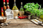 Prepared station to decorate the pizza — Stock Photo