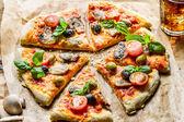 Bakade pizza med färska ingredienser — Stockfoto