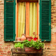Window in an old house decorated with flower pots and flowers — Stock Photo