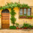 Stock Photo: Beautiful porch decorated with flowers in italy