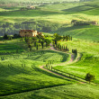 Farmhouse in Tuscany located on a hill — Stock Photo
