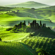 Beautiful sunrise in San Quirico d'Orcia, Tuscany, Italy — Stock Photo