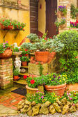 Beautiful porch decorated with flowers in the countryside, Italy — Stock Photo