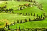 Winding road to agritourism in Italy on the hill — Stockfoto
