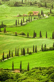 Winding road to agritourism in Italy on the hill, Tuscany — Stock Photo