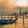 Gondola and San Giorgio Maggiore Church in sunset, Venice — Stock Photo