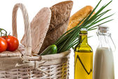 Closeup of basket full of healthy products — Stock Photo