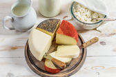 Closeup of fresh and healthy dairy products — Stock Photo