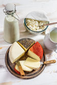 Fresh and healthy dairy products for breakfast — Stock Photo