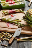 Preparations for the casserole with asparagus — Stock Photo