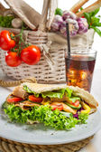 Kebab with fresh vegetables and meat — Stock Photo