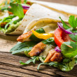 Kebab in a pancake with vegetables — Stock Photo