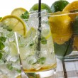 Close-up on lemon drink with ice — Stock Photo