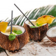 Foto Stock: Fresh pinacoladdrink served in coconut
