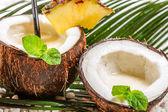 Closeup of pinacolada drink in the fresh coconut — Stock Photo