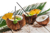 Fresh pinacolada drink served in a coconut — Photo