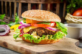 Closeup of burger made from vegetables and beaf — Stock Photo