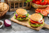 Two homemade burgers made from fresh vegetables — Stock Photo