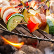 Hot skewers on the grill with fire — Stock Photo