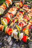 Hot skewers on the grill — Stock Photo