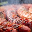 Stock Photo: Closeup of sausage on grill