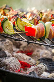 Skewers with chiken and vegetables on the grill — Stock Photo