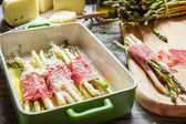 Asparagus rolled in ham and cheese — Foto de Stock