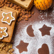 Homemade decorating gingerbread cookies — Stock Photo