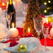 Stok fotoğraf: Candlelight on table decorated beautifully for Christmas