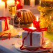 Recipe for nicely decorated Christmas table — Stock Photo