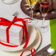 Foto de Stock  : Homemade cake and delicious drinks for Christmas