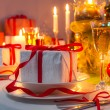 Foto Stock: Christmas Eve dinner by candlelight