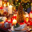 Traditionally decorated christmas table — ストック写真
