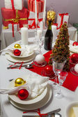 Richly set the Christmas table — Stock Photo