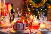 Traditional dishware on Christmas table — Stock Photo