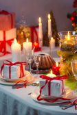 Enjoy your meal with familly at Christmas table — Stock Photo