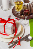 Homemade cake and delicious drinks for Christmas — Stock Photo